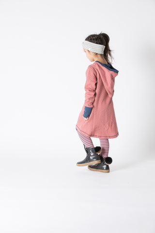 AlbaBabY - Linh Hood Dress Old Rose Dotted Rhombes