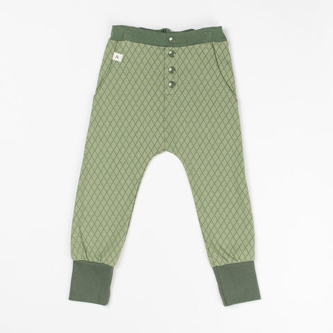 AlbaBaby Pants Button Hai Hedge Green Harlequin