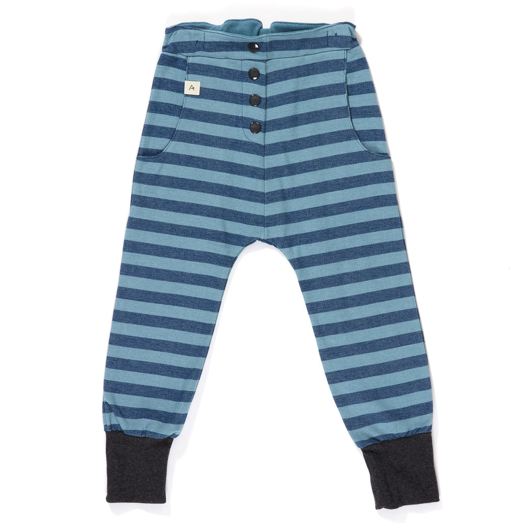AlbaBabY Hai Button Pants - Estate Blue Striped