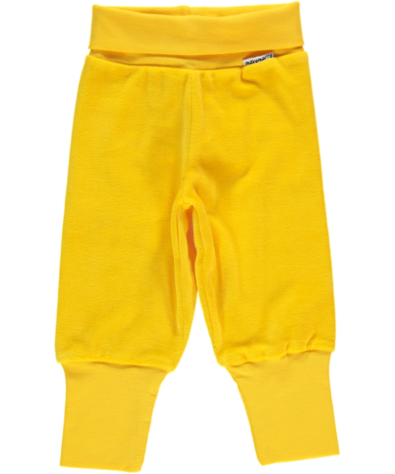 Maxomorra Rib Pants Velours Yellow - Babybroekje Geel Velours