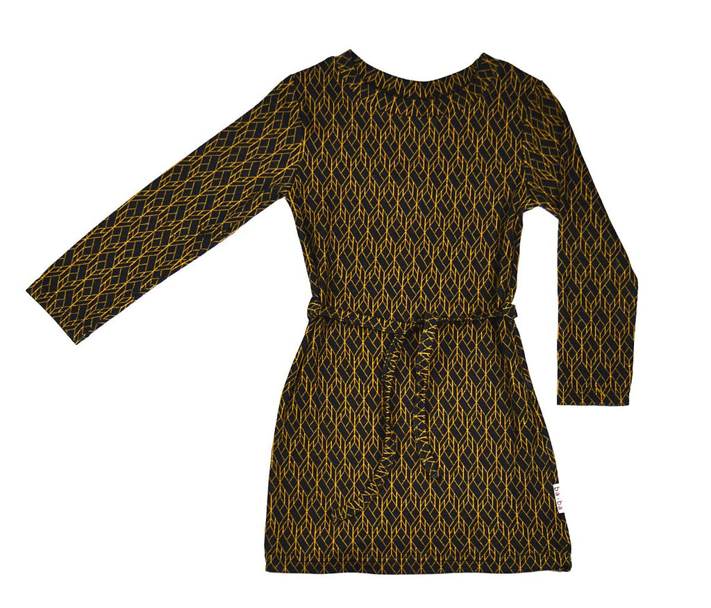 Baba Babywear - Sweat Dress CFS Black with Gold