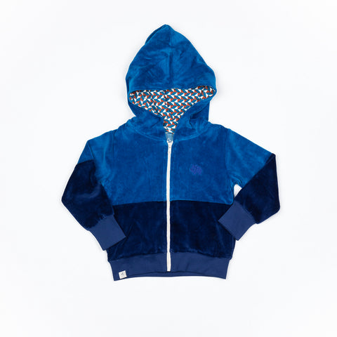 Alba of Denmark - Alfie Zipper Hood Mykonos Blue Velours