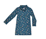 Baba Babywear Collar Dress Retro Flower - Blauwe jurk met kol