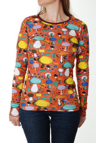 Duns Sweden - ADULT Longsleeve Mushroom Forest Dark Orange - Paddenstoelen
