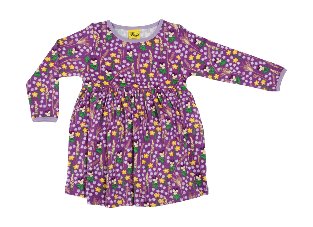 Duns Sweden - Longsleeve Gather Dress Meadow Purple - Zwier Jurk Lange Mouw Bloemenweide Paars
