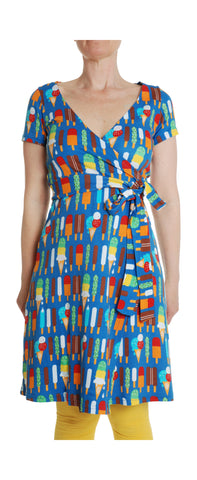 Duns Sweden Wrap Dress Icecream Blue - Overslag Jurk Blauw met IJsjes