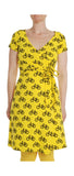 More Than A Fling Wrap Dress Bike Yellow - Overslag Jurk Geel Fietsen
