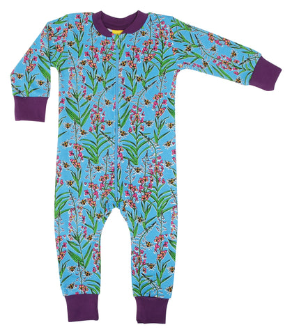 Duns Sweden - Zipsuit Willowherb Blue Slaappak Wilgenroosjes