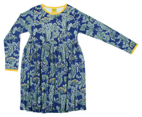 Duns Sweden - Longsleeve Gather Dress Dill Marine - Zwierjurk Lange Mouw Dille Navy Blauw