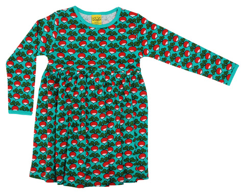 Duns Sweden - Longsleeve Gather Dress Radish Biliard - Zwierjurk Lange Mouw Radijsjes