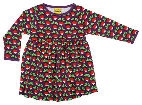 Duns Sweden - Longsleeve Gather Dress Radish Purple - Zwierjurk Lange Mouw Radijsjes