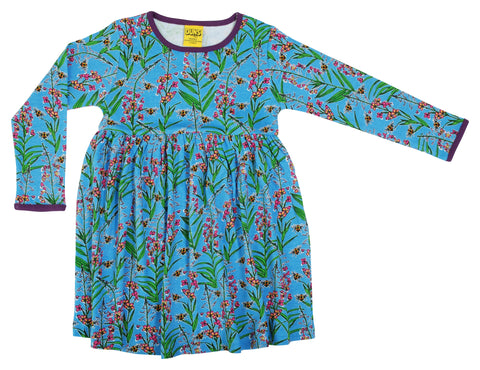 Duns Sweden - Longsleeve Gather Dress Willowherb Blue - Zwierjurk Lange Mouw Wilgenroosjes Blauw