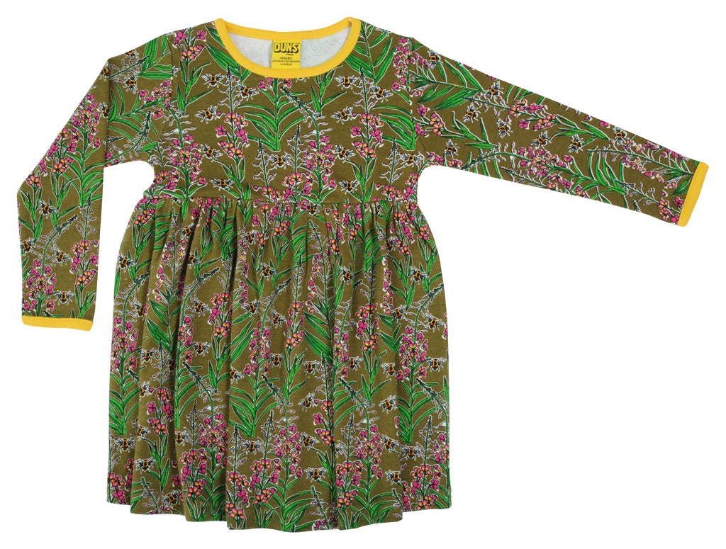 Duns Sweden - Longsleeve Gather Dress Willowherb Olive - Zwierjurk Lange Mouw Wilgenroosjes Olijfgroen