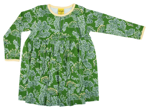 Duns Sweden - Longsleeve Gather Dress Dill Catus Green - Zwierjurk Lange Mouw Dille Groen