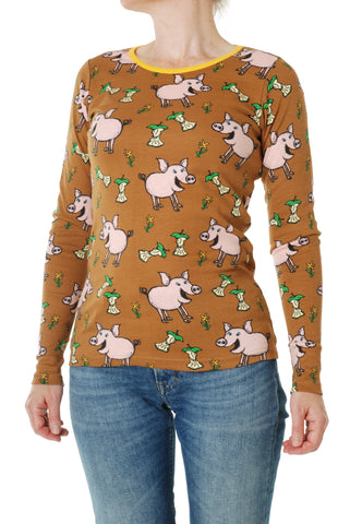 Duns Sweden ADULT Longsleeve Pigs Chipmunk Brown - Lange Mouw Shirt Varkentjes