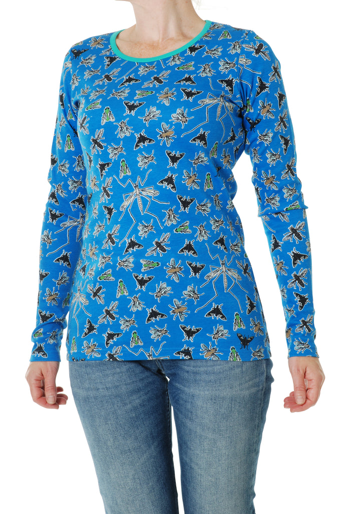 Duns Sweden ADULT Longsleeve Flies Blue - Lange Mouw Shirt Vliegen