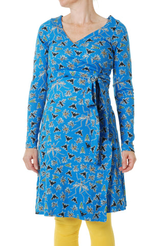 Duns Sweden ADULT Longsleeve Wrap Dress Flies Blue