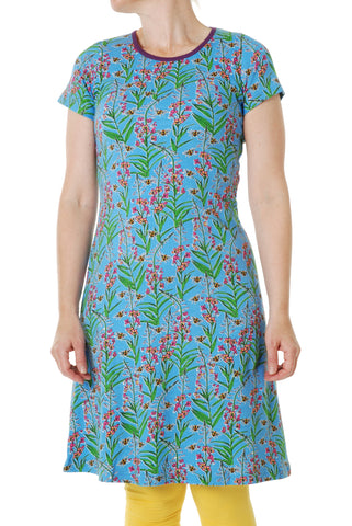 Duns Sweden ADULT Shortsleeve Dress Willowherb Blue - Jurk Wilgenroosjes