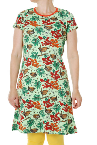 Duns Sweden ADULT Shortsleeve Dress Rowanberry Green - Jurk Lijsterbessen