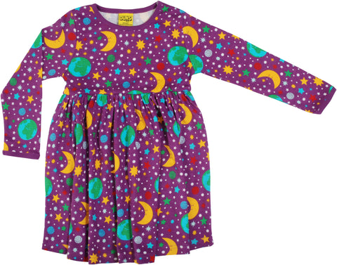 Duns Sweden - Longsleeve Gather Dress Mother Earth Violet - Zwierjurk Lange Mouw Sterrenhemel Paars