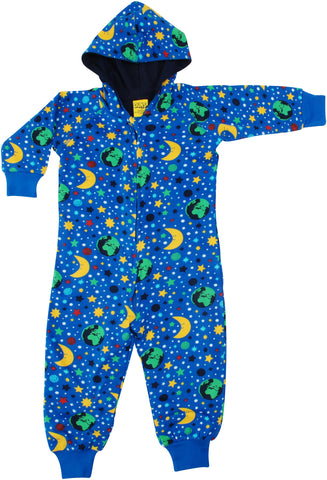Duns Sweden - Hooded Suit Mother Earth Blue - Onesie Heelal Blauw