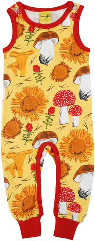 Duns Sweden - Playsuit Sunflower & Mushroom Sunshine Yellow - Mouwloos Pak Zonnebloemen & Paddenstoelen