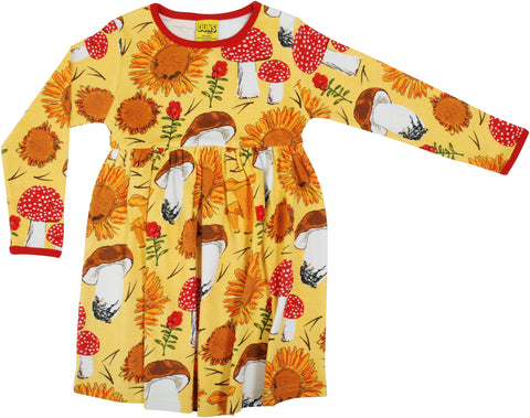 Duns Sweden - Longsleeve Gather Dress Sunflowers & Mushrooms Sunshine Yellow - Zwierjurk Lange Mouw Zonnebloemen & Paddenstoelen Geel