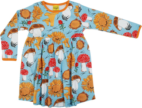 Duns Sweden - Longsleeve Gather Dress Sunflowers & Mushrooms Sky Blue - Zwierjurk Lange Mouw Zonnebloemen & Paddenstoelen