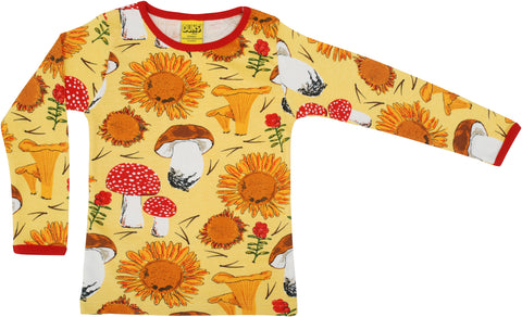 Duns Sweden ADULT Longsleeve Sunflowers & Mushrooms Sunshine Yellow - Lange Mouw Shirt Geel
