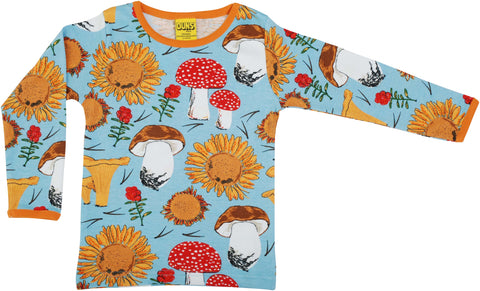 Duns Sweden ADULT Longsleeve Sunflowers & Mushrooms Sky Blue - Lange Mouw Shirt Blauw
