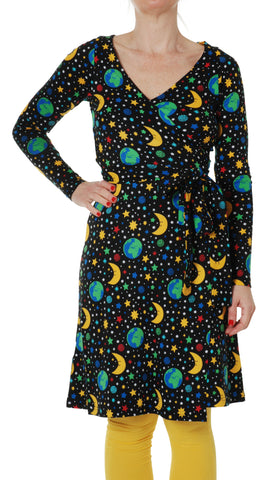 Duns Sweden ADULT Longsleeve Wrap Dress Mother Earth Black