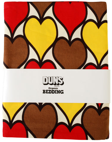 Duns Sweden Bedding 1 person Hearts Yellow Brown Red
