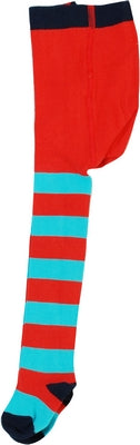 Duns Sweden Tights Red/Turquoise Navy Toe - Turquoise/Rood gestreepte Maillot