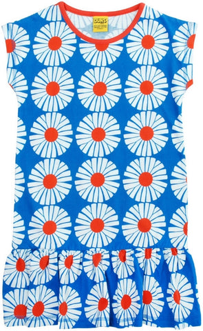 Duns Sweden Dress Capsleeve Big Flower Blue - Zomerjurkje Blauw Bloemen