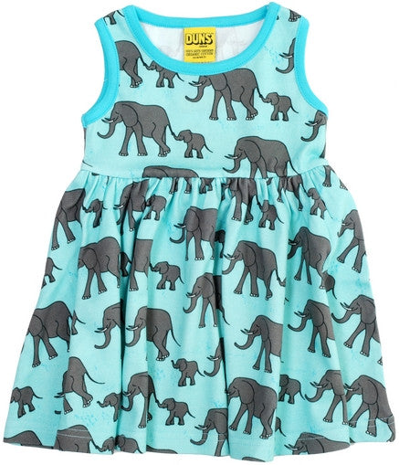 Duns Sweden Dress Sleeveless Blue Elephants - Zwierjurk Olifanten