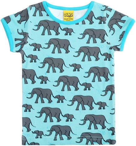 Duns Sweden T-Shirt Blue Elephants - Shirt met Olifanten