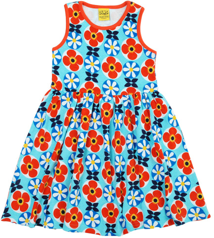 Duns Sweden Dress Sleeveless Blue Flowers Red - Zwierjurk Rode Blauwe Bloemen