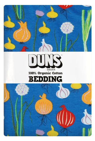 Duns Sweden - Bedding Adult Garlic, Chives & Onion Blue - Dekbedovertrek 1 persoons Uien Blauw