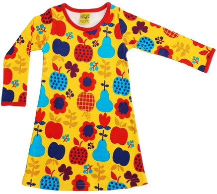 Duns Sweden Dress Longsleeve Yellow Fruit and Flowers