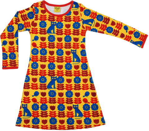 Duns Sweden Dress Longsleeve Yellow Cat & Bird - Jurk Kat & Vogel