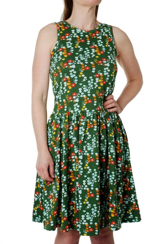 Duns Sweden - Gather Dress Green Little Flowers