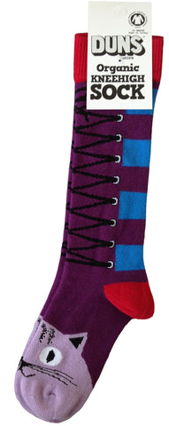 Duns Sweden Kneesocks Cat Purple - Kniekousen Kat Paars