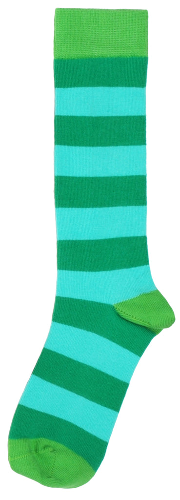 Duns Sweden Knee Socks Pepper Green/Turquoise Blue Striped
