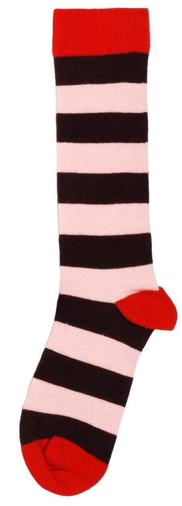 Duns Sweden Knee Socks Pompeian Red/Pink Striped