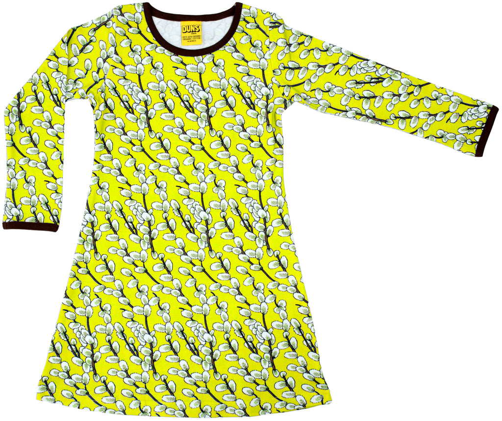 Duns Sweden - Longsleeve Dress Willows Lime - Jurk Wilgenkatjes