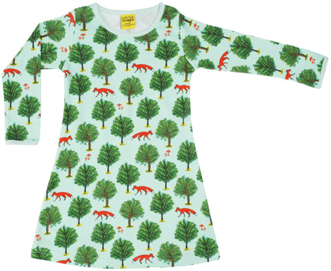 Duns Sweden - Longsleeve Dress Fox and Tree Jade