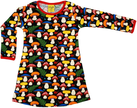 Duns Sweden - Longsleeve Dress Mushroom Black paddenstoelen