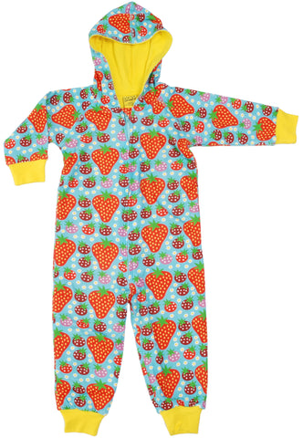 Duns Sweden - Onesie Strawberry Fields Light Turquoise - Lined Suit Aardbeitjes Blauw