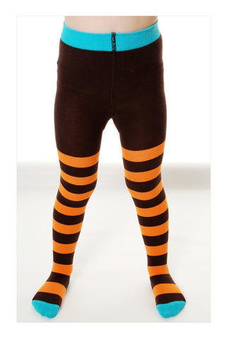 Duns Sweden Tights Brown/Orange Turquoise Toe - Oranje/Bruin gestreepte Maillot