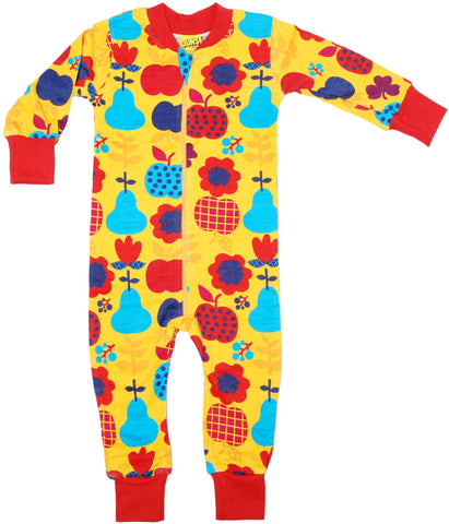 Duns Sweden Zipsuit Yellow Fruit and Flowers